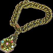 Rhinestone Pearl Perfume Bottle Charm Bracelet