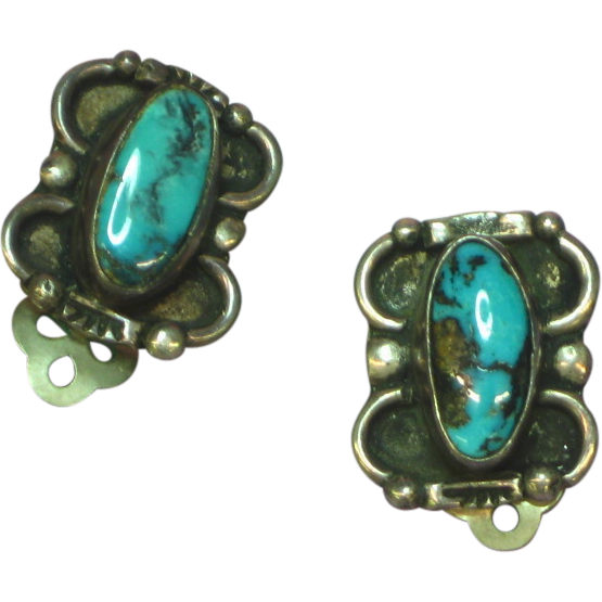 Native American Indian Sterling Silver Turquoise Clip Earrings