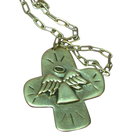 Sterling Silver Hand Wrought Angel Cross Pendant