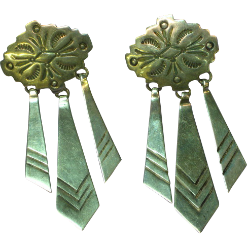 Native American Indian Sterling Silver Hand Made Stamped Concha Design Dangle Pierced Earrings