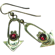 Native American Indian Sterling Silver Hand Fashioned Garnet Dangle Pierced Earrings
