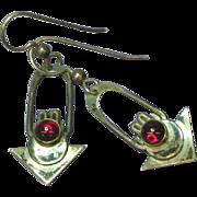 Native American Indian Sterling Silver Hand Fashioned Garnet Dangle Pierced Earrings