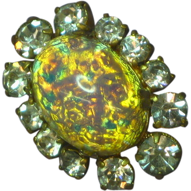 Rhinestones Art Glass  Brooch Pin Pendant