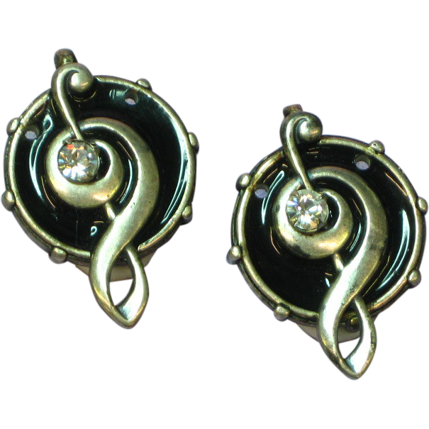 La Contessa by Kary Demarco Rhinestones Enamel Clip Earrings