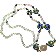 Chinese Cloisonne Enamel Rose Quartz Carved 14K Bead Necklace