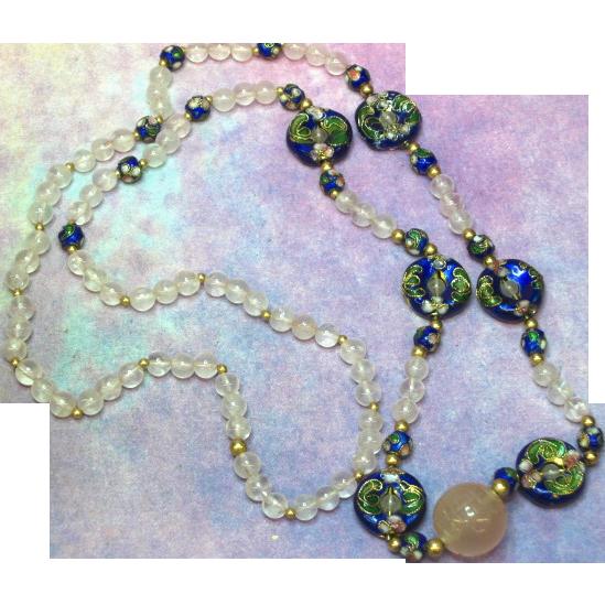 Chinese Cloisonne Enamel Rose Quartz Carved 14K Bead Necklace