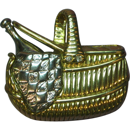 Liz Claiborne Detailed Goldtone and Silvertone Picnic Basket Pin Brooch