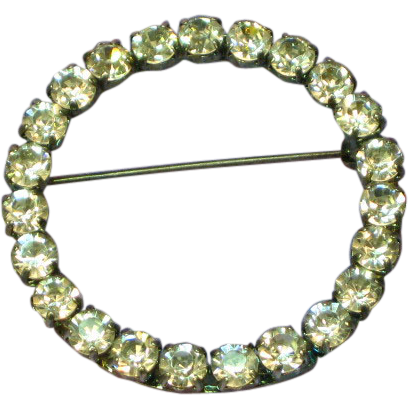 Rhinestones Classic Large Circle Pin Brooch