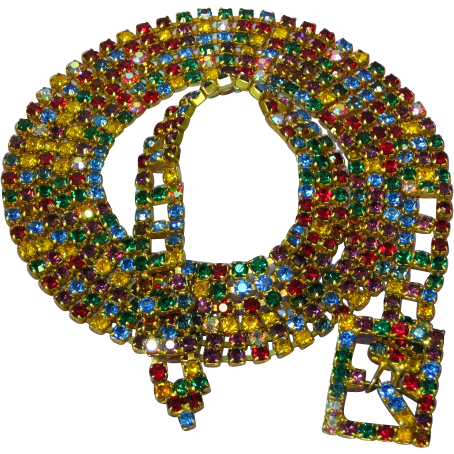 Rhinestones Multi Color Runway Statement  Necklace/Belt