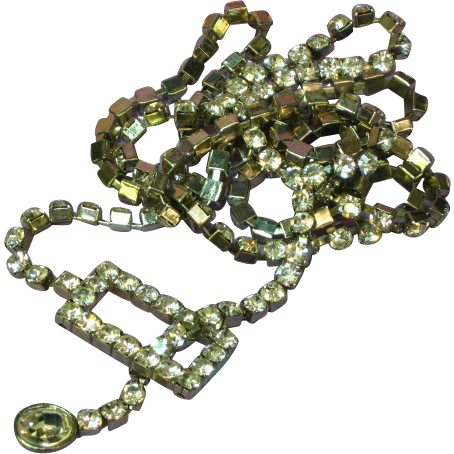 Rhinestones Runway Statement Lariat Necklace Belt
