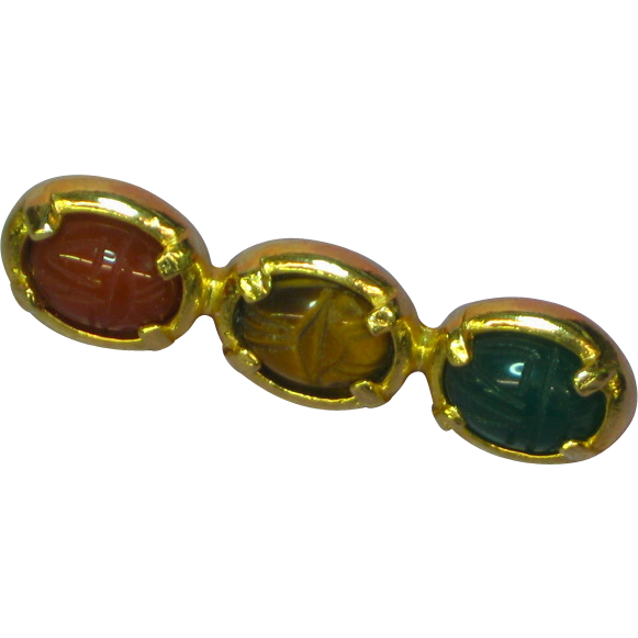 Gemstone Genuine Stone Three Carved Scarab Bar Pin Brooch