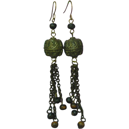 Mixed Metal Balinese Long Dangle Pierced Earrings