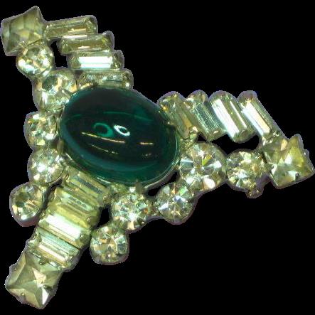 Vendome Jelly Belly Cabochon Rhinestone Pin Brooch