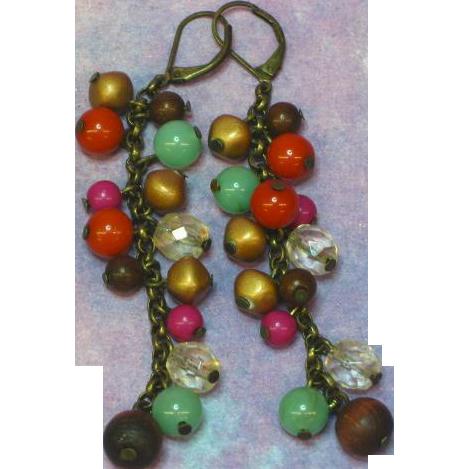Dramatic Antiqued Brass Beads  Cha Cha Dangle Pierced Earrings