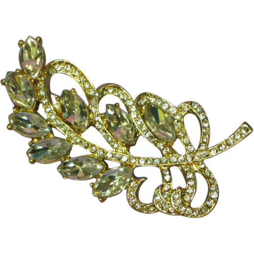Rhinestones Gold Tone Swirl Leaf Design Pin Brooch