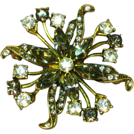 Rhinestones Smoke Antiqued Gold tone Unsigned Beauty Pinwheel Pin Brooch