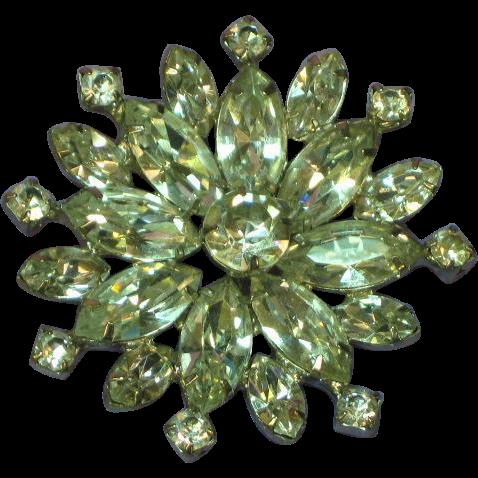 Rhodium Plated Rhinestone Snowflake Pin Brooch