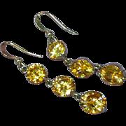 Crystal Faceted Citrine Dangle Drop Pierced Earrings