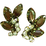 Juliana D&E Large Smoke Rhinestones Clip Earrings