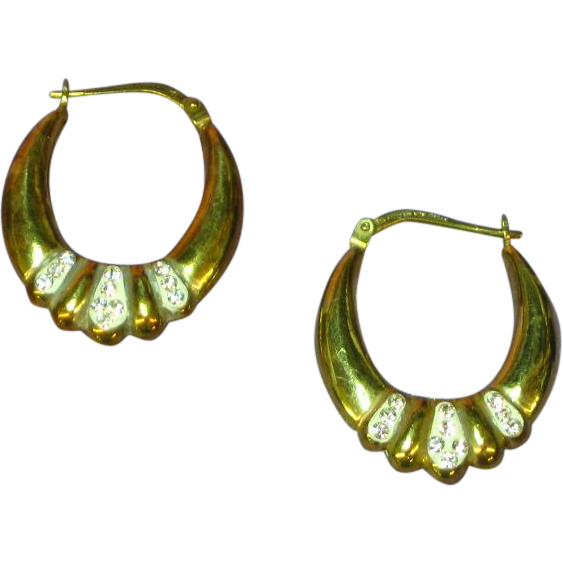 Rhinestones Reversible Oval Hoop Day and Night Pierced Earrings