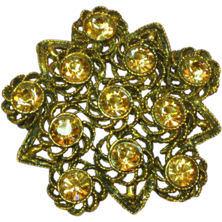 Rhinestones Golden Citrine  Sensational Large Pin Brooch