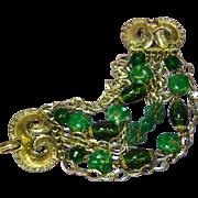 Art Signed Gorgeous Art Glass Jade Crystals Multi Chain Green  Bracelet