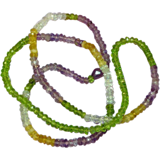 "Gemstones Faceted Citrine Amethyst Peridot Crystal Quartz Aquamarine All Semi-Precious Faceted 24"" Necklace"