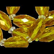 Enchanting Vintage Madeira Citrine Faceted Glass Rock Crystal Necklace
