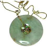Vintage Jadeite Jade 14K Yellow Gold 585 Oriental Bamboo Gemstones Pendant Necklace