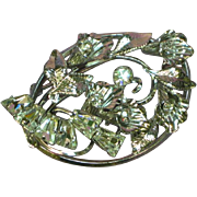 Star Art Sterling Silver Specialty Rhinestones Floral Bouquet Pin Brooch