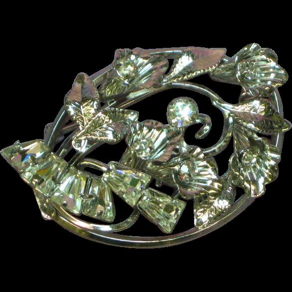 Star Art Sterling Silver Specialty Rhinestones Floral Bouquet Pin Brooch