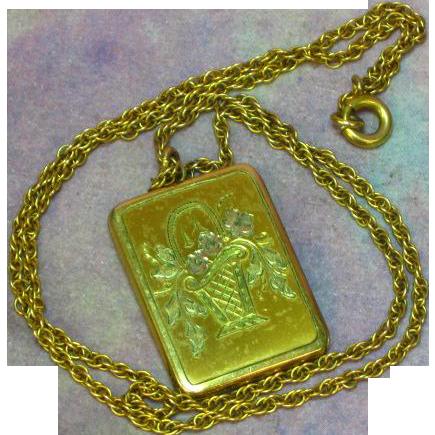 Gold Filled Etched Flower Basket Book Locket Necklace