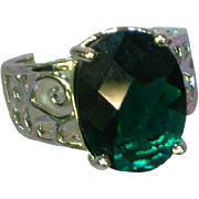Sterling Silver Rhodium Plate Cushion Cut Green Zirconia Filigree Ring