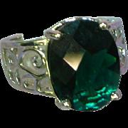 Sterling Silver Rhodium Plate Cushion Cut Green Zirconia Filigree Ring