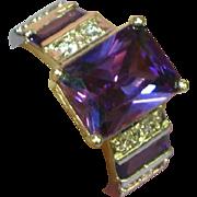 Sterling Silver Rhodium Plate Diamonique Amethyst Swarovski Crystal Filigree Ring