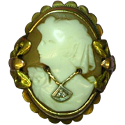 Cameo en Habille  Marked 10K Diamond Necklace Ring