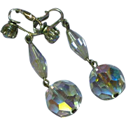 Swarovski Crystal Large Long Dangle Silvertone Clip Earrings