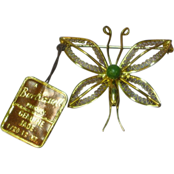 Burt Cassell Butterfly Jade 12k Gold Filled Brooch Pin