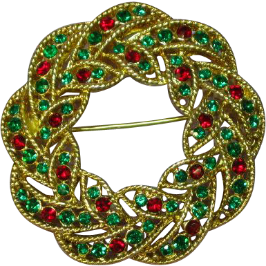 Vintage Weiss Red & Green Rhinestone Christmas Wreath Brooch