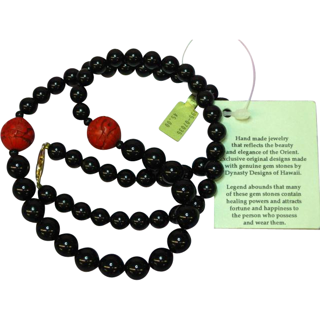 Striking Onyx, Cinnabar Bead Asian Hawaiian Necklace