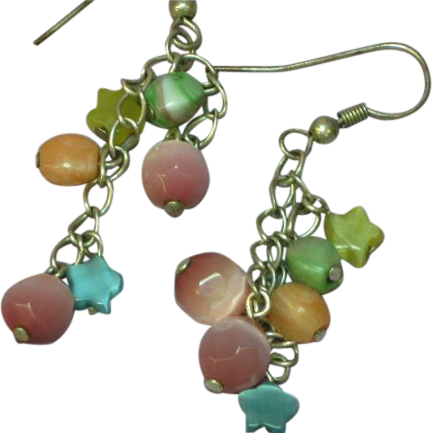 Art Glass Vintage Pastel Cats Eye Drop Dangle Faceted Fun Pierced Earrings