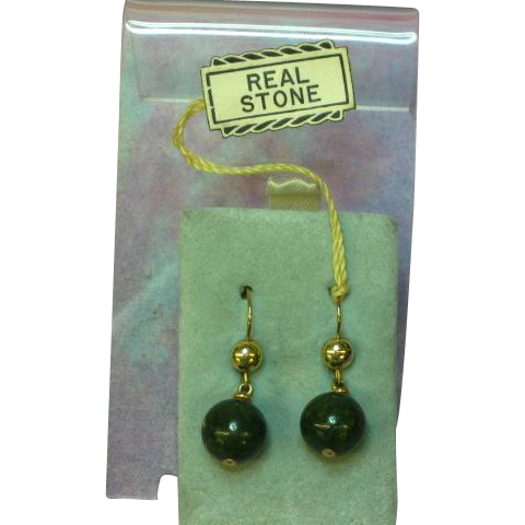 Winard Exquisite Vintage 12K Gold Filled Natural Genuine Jade Dangle Pierced Earrings