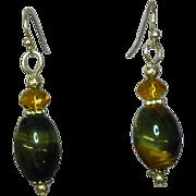 Tiger Eye Golden Polished Gemstones Bead Drop Dangle Sterling Silver Pierced Earrings