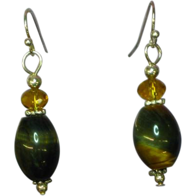 Tiger Eye Golden Polished Gemstones Bead Drop Dangle Sterling Silver Pierced Earrings