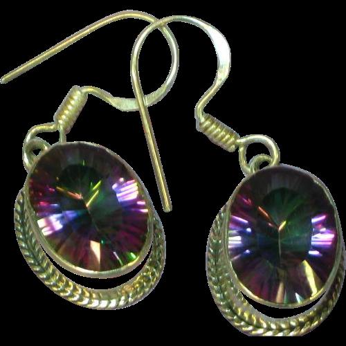 Watermelon Crystal Sterling Silver Pierced Earrings