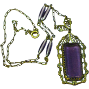 Art Deco Brass Czech Filigree Amethyst Glass Bead Necklace
