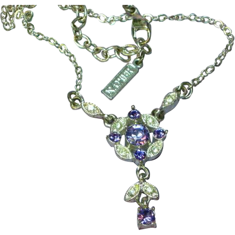 Napier Elegant Signed Purple Rhinestone  Silvertone Necklace