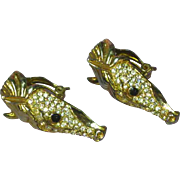 Rhinestones Encrusted Large Horse Head Gold Plated Clip Earrings