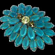 Rivoli Rhinestone Turquoise Satin Glass Domed Brooch Pin