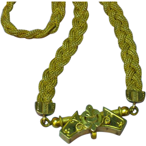 Antique Victorian 10K Gold Hand Made Pendant on a Gold Filled Mesh Chain Necklace